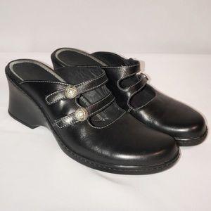 Clarks Black Leather Mary Jane Mule Slide Shoes